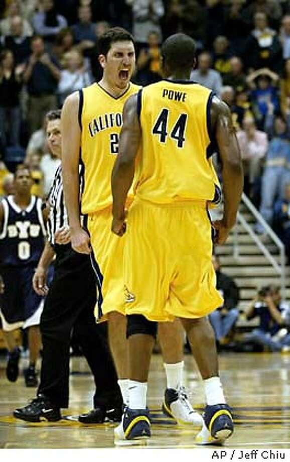 California center Amit Tamir, left, celebrates with teammate Leon Powe after making the game-winning basket as California beat Brigham Young 47-46 in Berkeley, Calif., on Wednesday, Nov. 26, 2003. (AP Photo/Jeff Chiu) Photo: JEFF CHIU
