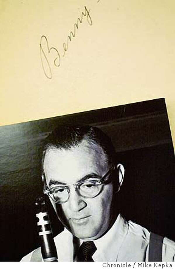 ccjazz0083_mk.jpg An autographed picture of Benny Goodman is on display at the San Ramon library.  Joyce Gunn, Branch Manager at the San Ramon Library, started a Jazz program that draws crowds of jazz enthusiast to the library after hours. 11/20/03 in San Ramon MIKE KEPKA/The San Francisco Chronicle Photo: MIKE KEPKA