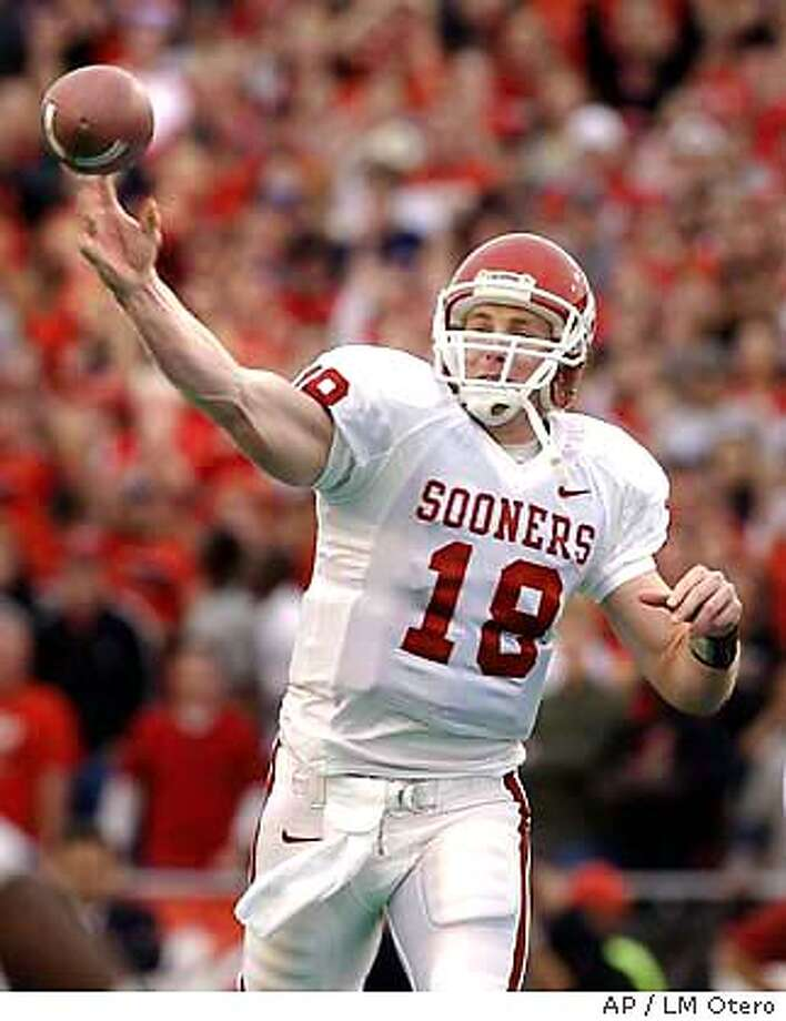 Oklahoma's quarterback Jason White (18) passes in the first quarter against Texas Tech in Lubbock, Texas, Saturday, Nov. 22, 2003. (AP Photo/LM Otero) Photo: LM OTERO