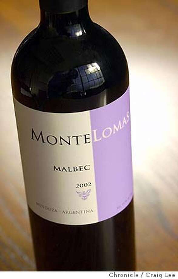 Photo of bottle of Monte Lomas 2002 Malbec for Bargain Wines.  Event on 11/21/03 in San Francisco.  CRAIG LEE / The Chronicle Photo: CRAIG LEE