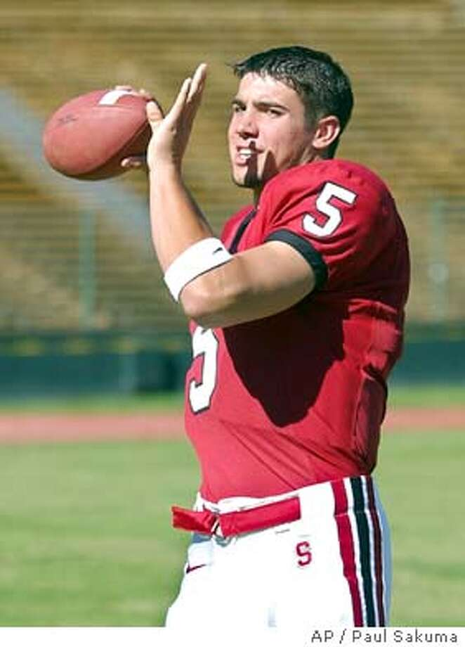 Stanford backup quarterback Trent Edwards passes in Stanford Stadium on the Stanford, Calif., campus, on Aug. 11, 2003. Stanford is preparing for their opening game against San Jose State University on Saturday, Sept. 6. (AP Photo/Paul Sakuma) When Trent Edwards played, the &quo;offense just started clicking,&quo; receiver Luke Powell said. Photo caption  edwards101062547200APStanford backup quarterback Trent Edwards passes in Stanford Stadium on the Stanford, Calif., campus, on Aug. 11, 2003. Stanford is preparing for their opening game against San Jose State University on Saturday, Sept. 6. (AP Photo-Paul Sakuma) Trent Edwards is still in intensive care and will not play against Notre Dame. Photo caption  1062547200APStanford backup quarterback Trent Edwards passes in Stanford Stadium on the Stanford, Calif., campus, on Aug. 11, 2003. Stanford is preparing for their opening game against San Jose State University on Saturday, Sept. 6. (AP Photo-Paul Sakuma)__When Trent Edwards played, the &quo;offense just started clicking,&quo; receiver Luke Powell said. ___Photo caption  edwards101062547200APStanford backup quarterback Trent Edwards passes in Stanford Stadium on the Stanford, Calif., campus, on Aug. 11, 2003. Stanford Photo: PAUL SAKUMA