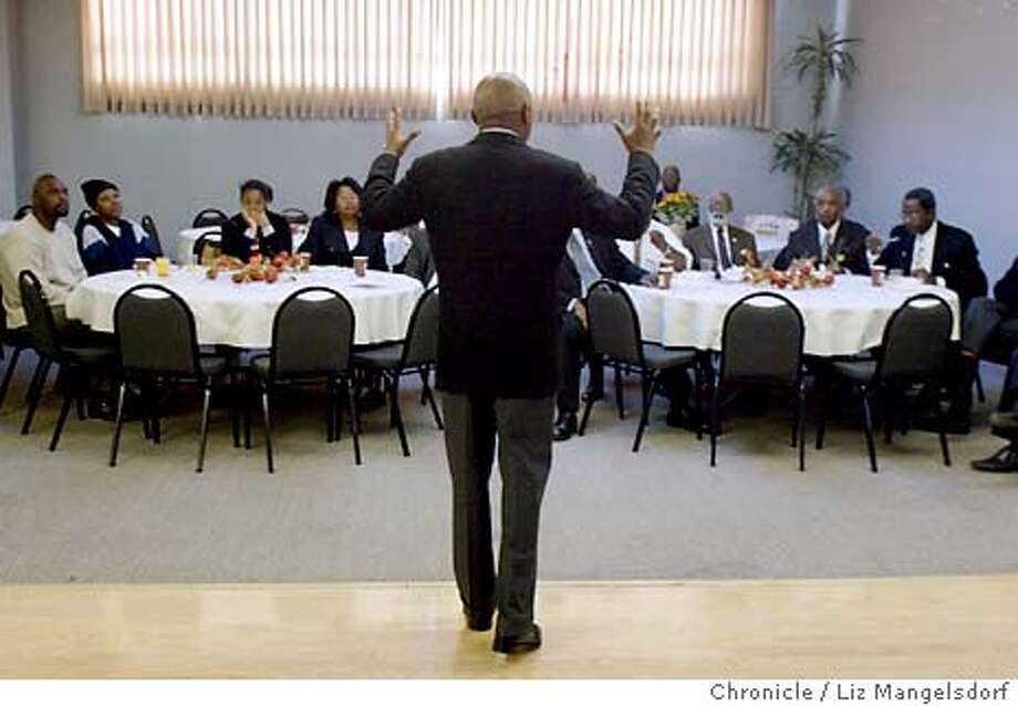 46FB0071.JPG Event on 11/25/03 in San Francisco.  Mayor Brown addressing the Minister's during their breakfast on Tuesday morning.  Mayor Willie Brown at the minister's breakfast. Candidates Gavin Newsom and kamela Harris were also there. LIZ MANGELSDORF / The Chronicle Photo: LIZ MANGELSDORF