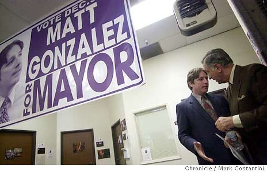 gonzalez25_0017.JPG Photo taken on 11/24/03 in San Francisco.  From left--Gonzalez and former San Francisco Mayor Art Agnos share a moment before speaking.  Matt Gonzalez for Mayor press conference at the candidate's campaign headquarters. CHRONICLE PHOTO BY MARK COSTANTINI Photo: MARK COSTANTINI