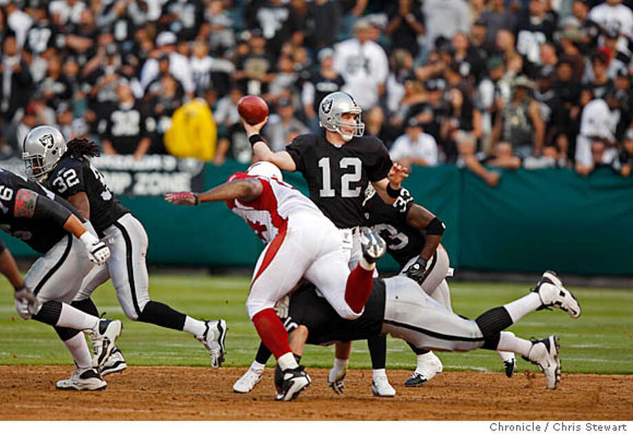 RAIDERS_CARDINALS_0109_cs.jpg Event on 8/11/07 in Oakland  Oakland Raiders' quarterback Josh McCown gets off a pass against the Arizona Cardinals in the first quarter during an exhibition game at McAfee Coliseum in Oakland California. Photographed August 11, 2007.  Chris Stewart / The Chronicle Oakland Raiders, Arizona Cardinals  Ran on: 08-12-2007  John McCown started at quarterback for the Raiders but didn't make much of an impression in the preseason opener against Arizona.  Ran on: 08-12-2007  John McCown started at quarterback for the Raiders, but he didn't make much of an impression in the preseason opener against Arizona. Photo: Chris Stewart