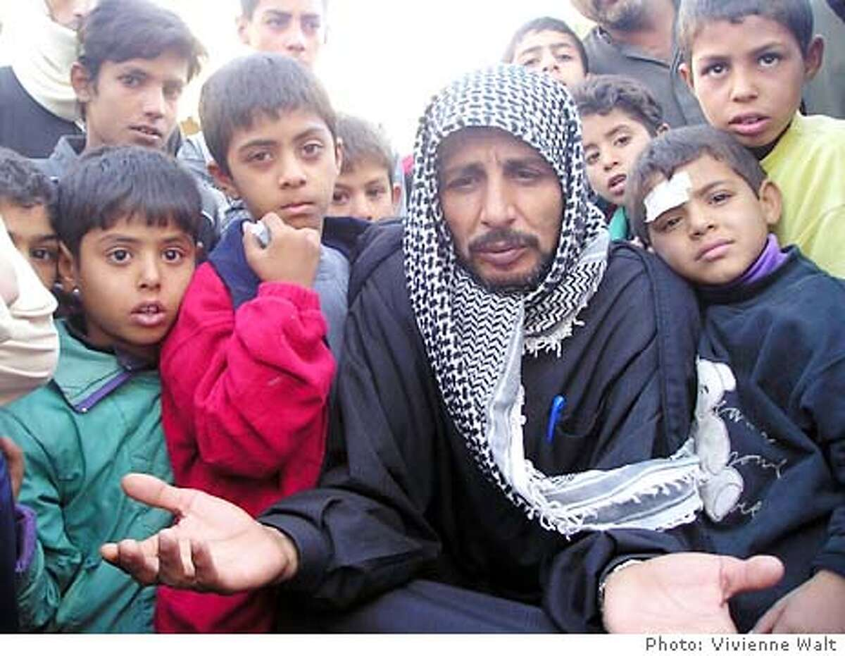 In Fallujah Jassim Kalaf al-Jumaidy, 40, whose two sons Hisham, 18, and Wissam, 21, were killed in the American gunfire on Nov 11, along with three others, says he will be patient and see what kind of compensation the US military offers. The military says the group fired on soldiers, forcing them to defend themselves. Photo by Vivienne Walt Fallujah, Iraq Nov 14, 2003 In Fallujah Jassim Kalaf al-Jumaidy, 40, whose two sons Hisham, 18, and Wissam, 21, were killed in the American gunfire on Nov 11, along with three others, says he will be patient and see what kind of compensation the US military offers. The military says the group fired on soldiers, forcing them to defend themselves. Photo by Vivienne Walt Fallujah, Iraq Nov 14, 2003 In Fallujah Jassim Kalaf al-Jumaidy, 40, whose two sons Hisham, 18, and Wissam, 21, were killed in the American gunfire on Nov 11, along with three others, says he will be patient and see what kind of compensation the US military offers. The military says the group fired on soldiers, forcing them to defend themselves. Photo by Vivienne Walt Fallujah, Iraq In Fallujah Jassim Kalaf al-Jumaidy, 40, whose two sons Hisham, 18, and Wissam, 21, were killed in the American gunfire on Nov 11, along with three others, says he will be patient and see what kind of compensation the US military offers. The military says the group fired on soldiers, forcing them to defend themselves. Photo by Vivienne Walt Fallujah, Iraq Nov 14, 2003 Nov 14, 2003