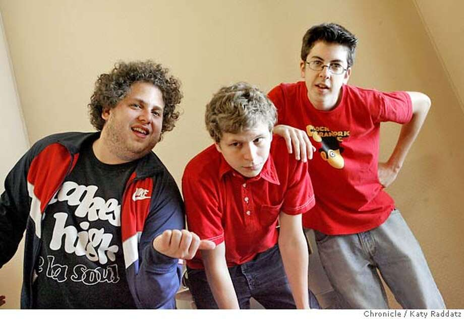 ".jpg  SHOWN: L to R: Jonah Hill (dark shirt, curly hair), Michael Cera (wears red shirt with collar), Christopher Mintz-Plase (wears red shirt with NO collar). The three stars of the movie ""Superbad."" We photograph them at The Four Seasons Hotel in San Francisco, CA. on Monday, july 30, 2007  (Katy Raddatz/The Chronicle)  **Christopher Mintz-Plase, Michael Cera, Jonah Hill Mandatory credit for the photographer and the San Francisco Chronicle. No sales; mags out. Photo: Katy Raddatz"