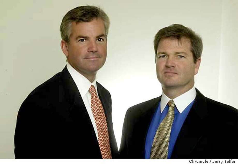 Gregory Johnson (left) and Martin Flanagan (right) are co-presidents and co-CEOs for Franklin Resources, a large mutual fund company based in San Mateo, CA.  Event on 11/17/03 in San Francisco. JERRY TELFER / The Chronicle MANDATORY CREDIT FOR PHOTOG AND SF CHRONICLE/ -MAGS OUT Photo: JERRY TELFER