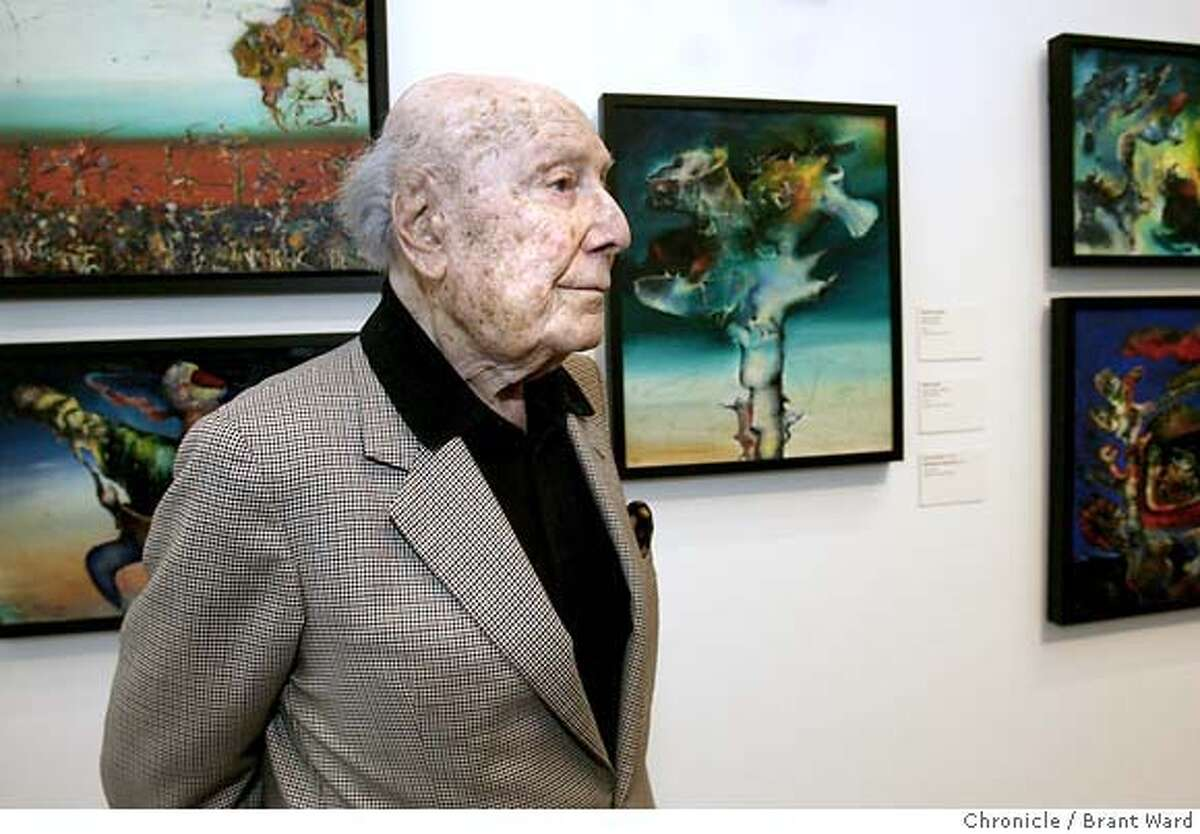 donati_205.JPG Enrico Donati stood near a series of paintings done between 1943 and 1946 which were inspired by African-Oceanic art. Artist Enrico Donati, 98 years, is the last living Surrealist artist closely associated with the movement's acknowledged leader, Andre Breton. A room is devoted to his work at the de Young Museum in San Francisco. {Brant Ward/San Francisco Chronicle}7/16/07
