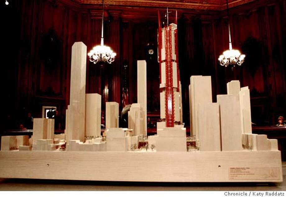 TRANSBAY07_096_RAD.jpg  SHOWN: The architectural model presented by Rogers, Stirk, Harbour and Partners. The three finalist tower proposals in the Transbay Terminal competition are unveiled in the North Light Court of City Hall in San Francisco, CA. (Katy Raddatz/The Chronicle)  **Rogers, Stirk, Harbour and Partners Mandatory credit for the photographer and the San Francisco Chronicle. No sales; mags out. Photo: Katy Raddatz