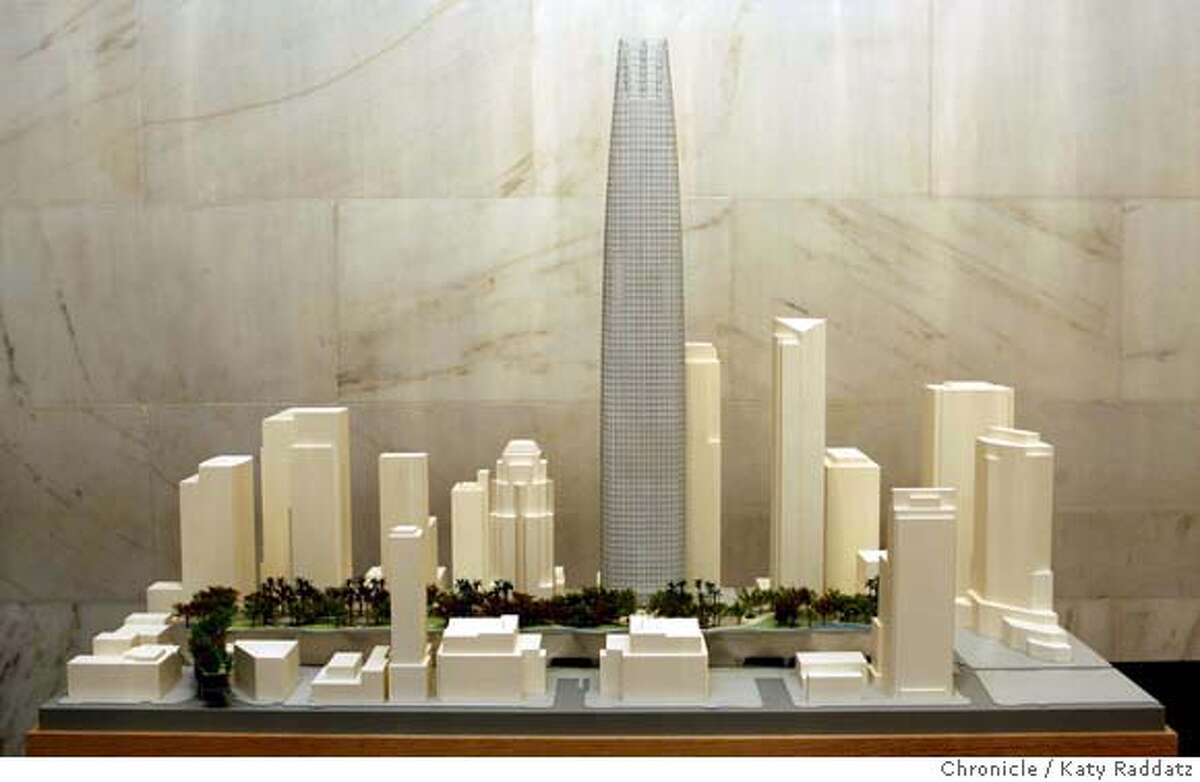 TRANSBAY07_107_RAD.jpg SHOWN: The architectural model presented by Pelli, Clarke, Pelli Architects. The three finalist tower proposals in the Transbay Terminal competition are unveiled in the North Light Court of City Hall in San Francisco, CA. (Katy Raddatz/The Chronicle) ** Pelli, Clarke, Pelli Architects Mandatory credit for the photographer and the San Francisco Chronicle. No sales; mags out.