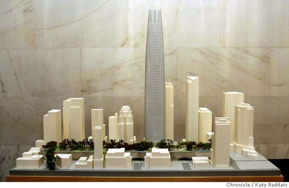TRANSBAY07_107_RAD.jpg  SHOWN: The architectural model presented by Pelli, Clarke, Pelli Architects. The three finalist tower proposals in the Transbay Terminal competition are unveiled in the North Light Court of City Hall in San Francisco, CA. (Katy Raddatz/The Chronicle)  ** Pelli, Clarke, Pelli Architects Mandatory credit for the photographer and the San Francisco Chronicle. No sales; mags out. Photo: Katy Raddatz