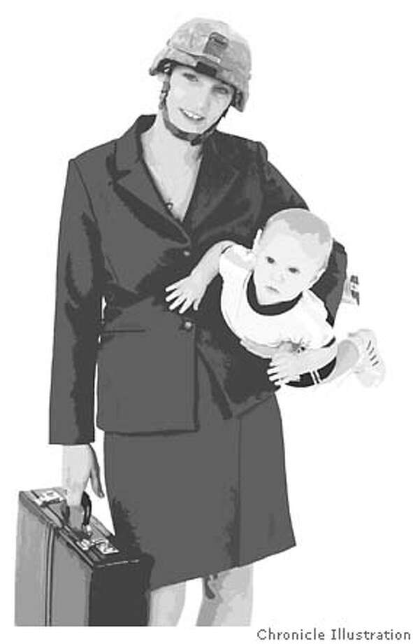 The working wounded. Most women don't have a choice to stay home with kids. Chronicle Illustration