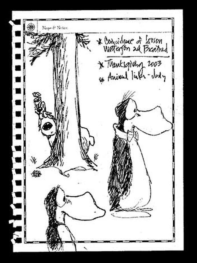 BREATHED23_PH_sketch_psd.jpg for ; Phil Frank's notebook doodles from interview with cartoonist Berkeley Breathed. , / HO MANDATORY CREDIT FOR PHOTOG AND SF CHRONICLE/ -MAGS OUT
