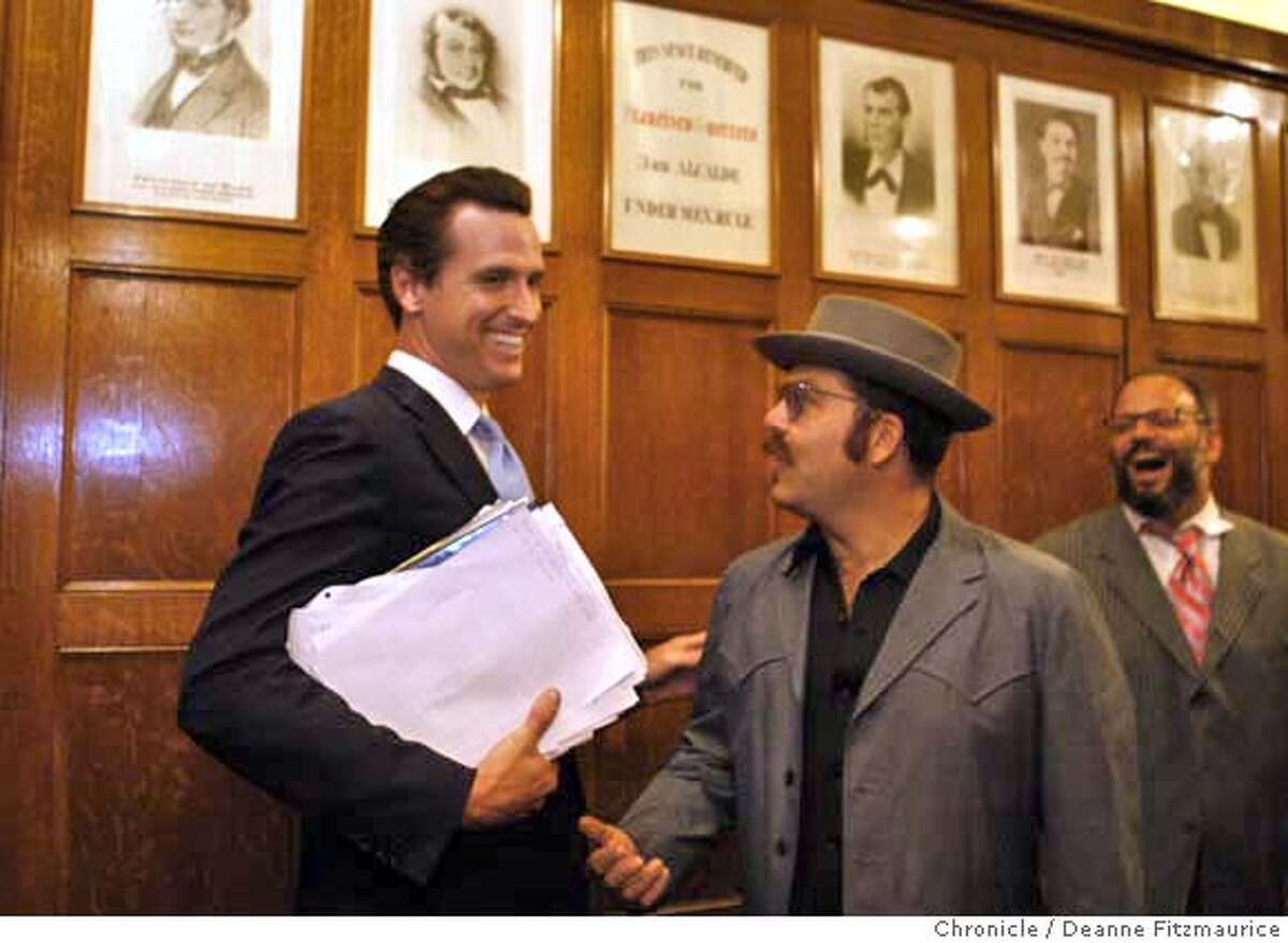 mayorsrace11_0110_df.jpg Chicken John Rinaldi (yes, that is the name he goes by), in hat, had a chance run in with Mayor Gavin Newsom, at left, as he gets a tour of the mayors office before filing papers to run against Newsom for mayor. Photographed in San Francisco on 8/10/07. Deanne Fitzmaurice / The Chronicle Mandatory credit for photographer and San Francisco Chronicle. No Sales/Magazines out.