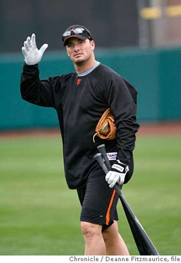 giants_0192_df.jpg  Mark Sweeney (cq) waves to somebody in the stands. Some of the position players arrive early to workout the day before the position players are required to workout. San Francisco Giants have a Spring Training workout at Scottsdale Stadium. Photographed in Scottsdale on 2/19/07. Chronicle Photo / Deanne Fitzmaurice Mark Sweeney (cq) Ran on: 02-20-2007  Pinch-hitter or household name? Mark Sweeney says he still prefers the former. Mandatory credit for photographer and San Francisco Chronicle. No Sales/Magazines out. Photo: Deanne Fitzmaurice