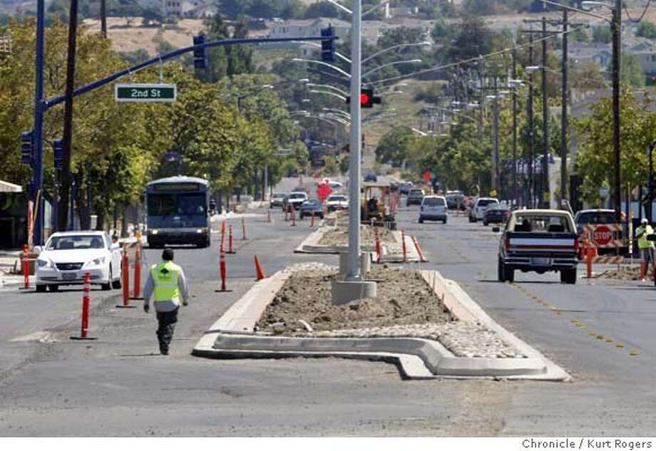 Parker Avenue the main drag in Rodeo in Contra Costa County is in the process of being repaved.But it mite not be done before the winter because the funds needed to finish are held up by 14 Senate Republicans who refuse to accept the budget approved by the Assembly.  THURSDAY, AUG 9, 2007 KURT ROGERS RODEO SFC  THE CHRONICLE CALBUDGET10_ROADS_0047_kr.jpg MANDATORY CREDIT FOR PHOTOG AND SF CHRONICLE / NO SALES-MAGS OUT Photo: KURT ROGERS