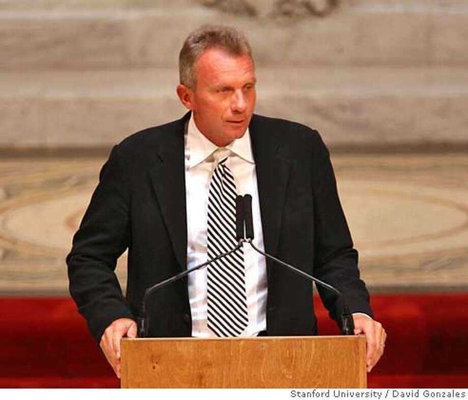 9 August 2007: Joe Montana during the Bill Walsh memorial service at Memorial Church on the campus of Stanford University in Stanford, CA. David Gonzalez / Stanford University / Pool Photo: David Gonzales
