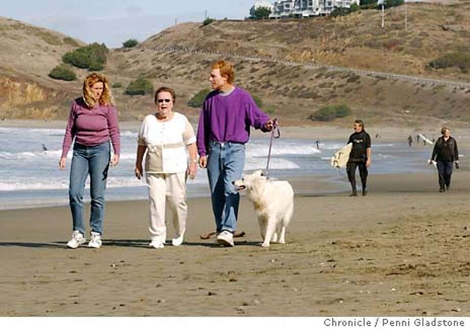 PACRECALL17013_pg.jpg  at left is Suzanne Valente, director of the steering committee, Vi Gootelloi, CEO of Pacifica Watchdogs, and Rocky Golub with his dog Billy on the beach in Pacifica. Pacifica trying to recall four of it's 5 council members. 11/16/03 in Pacifica.  PENNI GLADSTONE / The Chronicle Photo: PENNI GLADSTONE