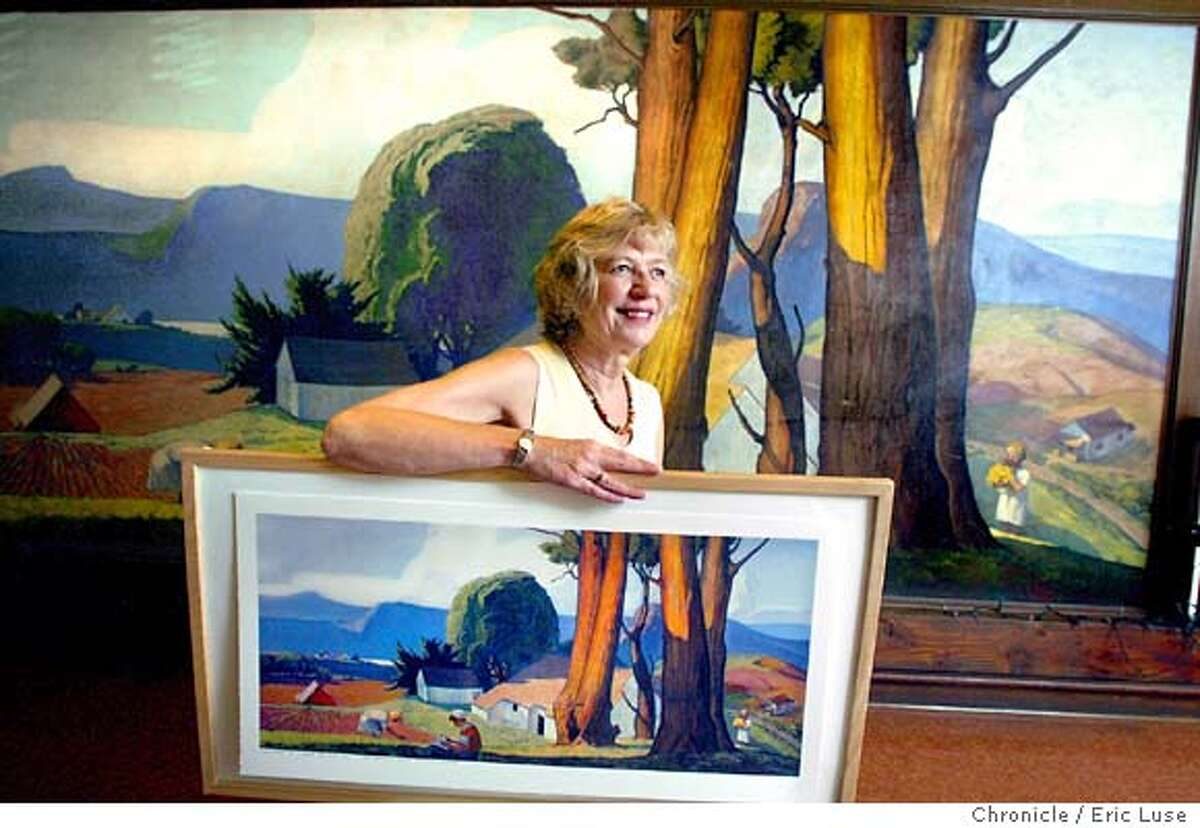 Susan Lahr, San Geronimo Valley Cultural Center, is heading up the drive to restore this 1934 WPA mural painted by Maurice Del Mue at the center. They need $20,000 and are selling reproductions of it, which she is holding, as part of the effort to restore it. 9/10/03 Eric Luse/The Chronicle