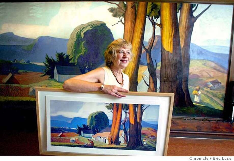 Susan Lahr, San Geronimo Valley Cultural Center, is heading up the drive to restore this 1934 WPA mural painted by Maurice Del Mue at the center.  They need $20,000 and are selling reproductions of it, which she is holding, as part of the effort to restore it.  9/10/03  Eric Luse/The Chronicle Photo: Eric Luse