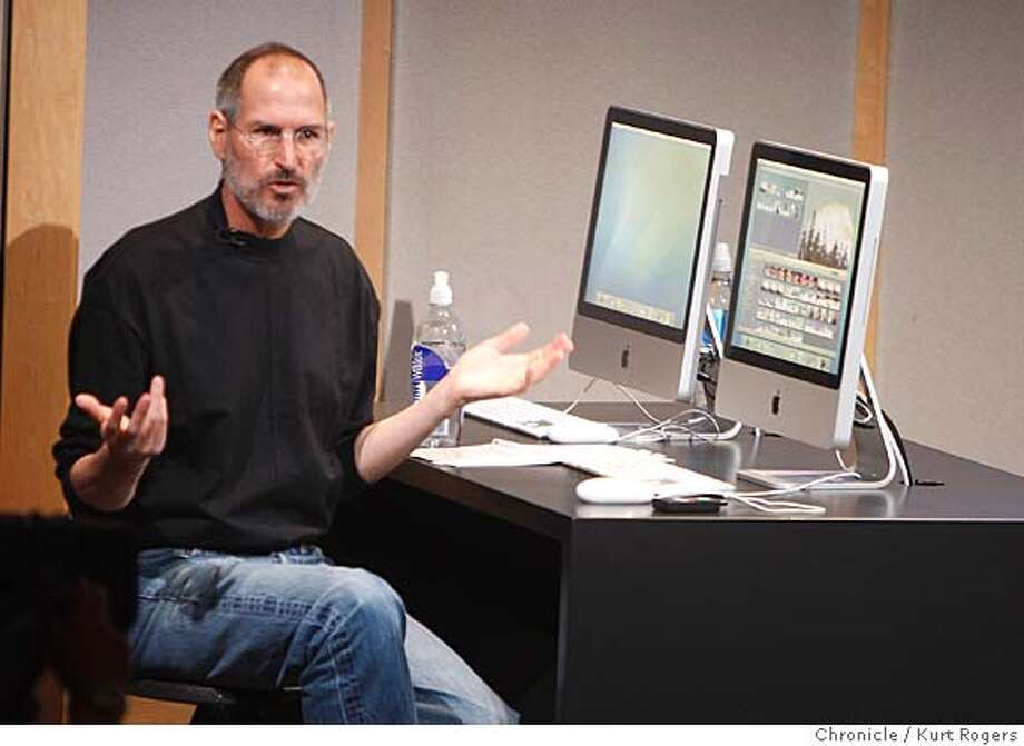 Steve Jobs unveiled the new IMac and I life program at a press conference at Apple headquarters in Cupertino this morning.  TUESDAY, AUG 7, 2007 KURT ROGERS CUPERTINO SFC  THE CHRONICLE APPLE08_0084_kr.jpg Photo: KURT ROGERS
