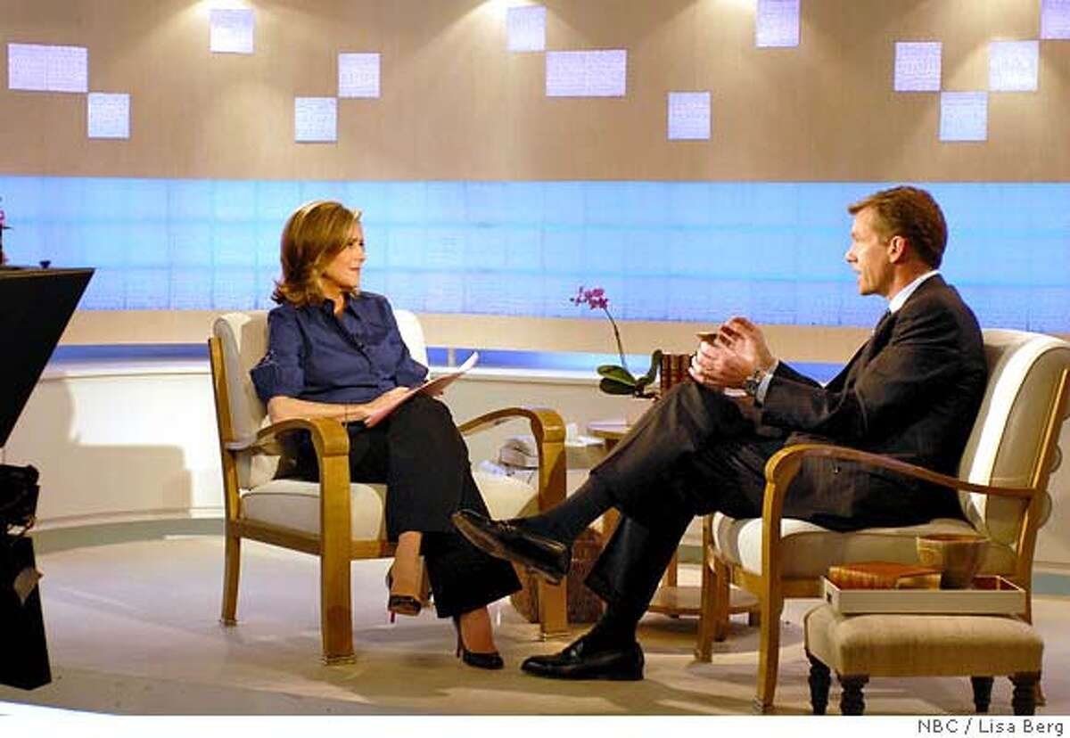 """TODAY -- Pictured: (l-r) Meredith Vieira, Chris Hansen -- Chris Hansen of NBC News' """"To Catch A Predator"""" talks about keeping your children safe online with TODAY's Meredith Vieira -- NBC Photo: Lisa Berg FOR EDITORIAL USE ONLY -- DO NOT RE-SELL -- DO NOT ARCHIVE"""