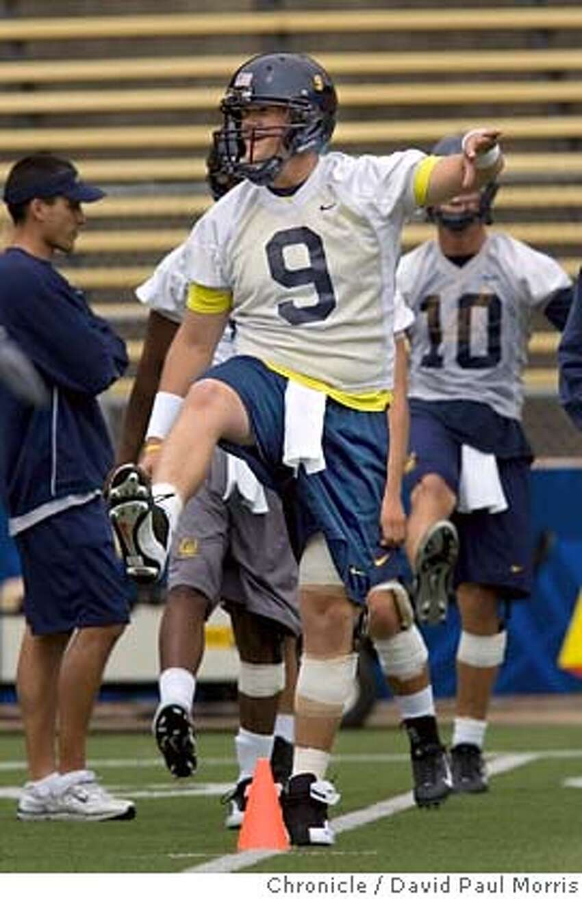 BERKELEY, CA - AUG 6: Quarterback Nate Longshore #9 of the Cal Bears football team takes part in practice at the Memorial Stadium on August 6, 2007 in Berkeley, California. (Photo by David Paul Morris / The Chronicle)