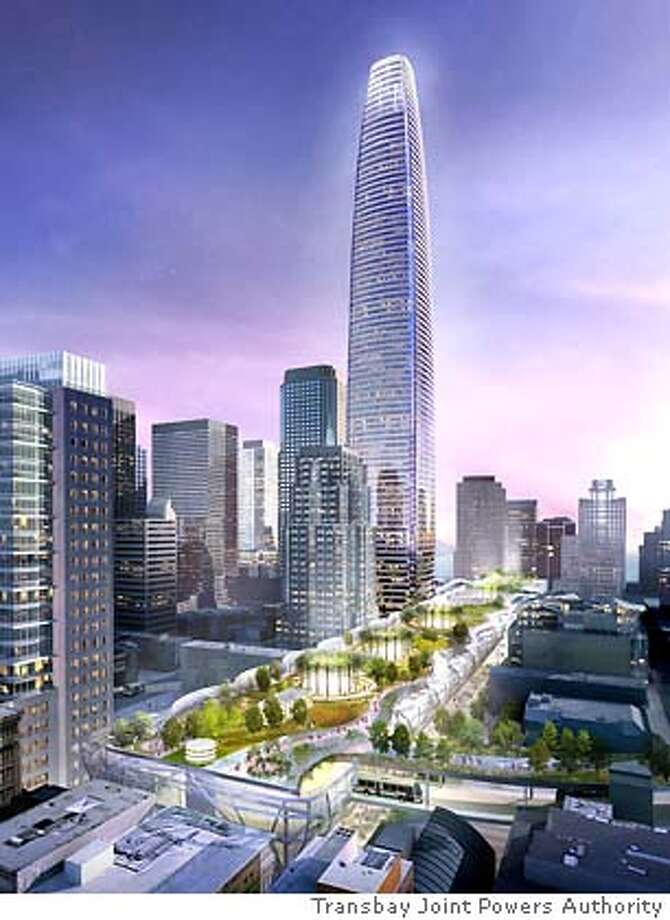 This is a proposed design concept for the Transbay Terminal. Aerial View.  Courtesy, Transbay Joint Powers Authority and Pelli Clarke Pelli Architects and WRNS Studio and Hines. Photo: Courtesy, Transbay Joint Powers
