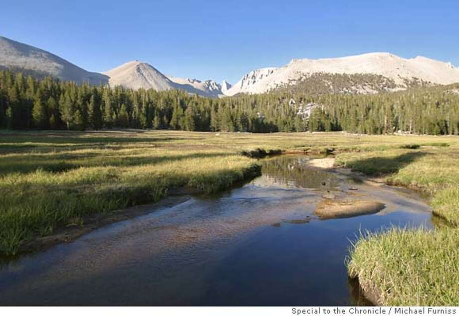 Whitney Creek pretzels its way through Crabtree Meadow at the foot of western approach to Mount Whitney.  Photo by Michael Furniss/ Special to the Chronicle. Photo: Photo By Michael Furniss/ Specia