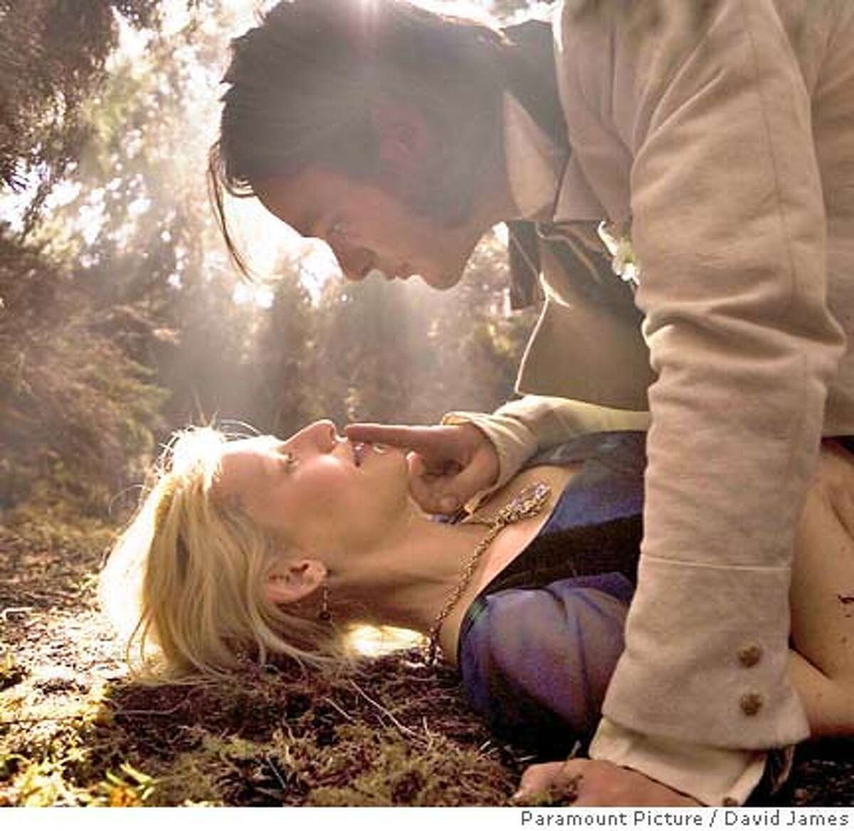 Tristan (CHARLIE COX, top) falls in love with Yvaine (CLAIRE DANES, bottom), a fallen star, in �Stardust.� Paramount Pictures � 2007 Paramount Pictures. All Rights Reserved.