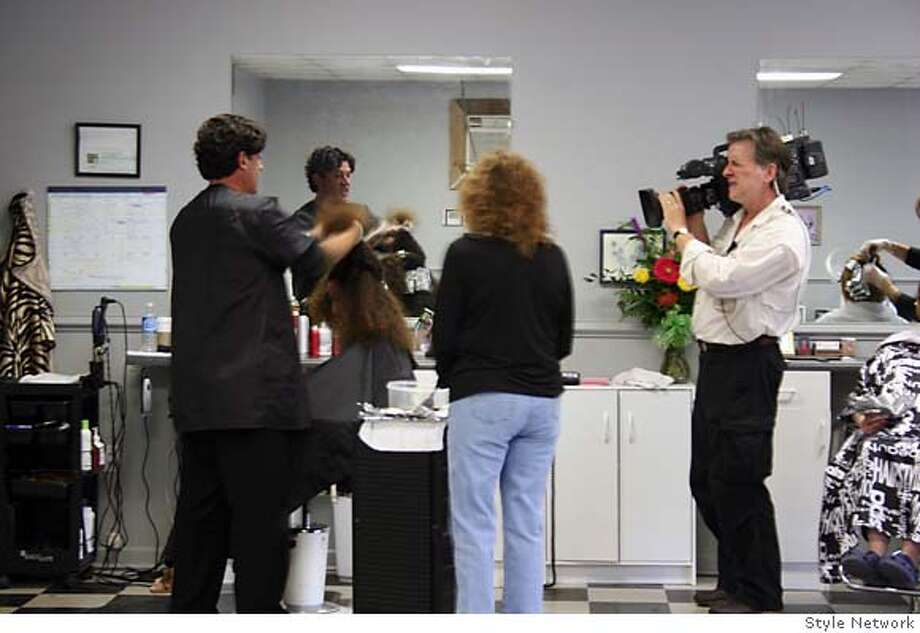 "Joe Hamer, left, of Petaluma, styling client's hair at Styles by Beverly in New Hope, Alabama for the reality series ""Split Ends"" Photo: Courtesy Style Network"