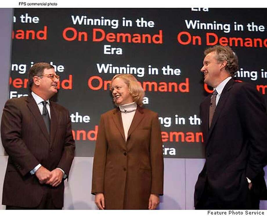 CEO's Sam Palmisano of IBM, left, Meg Whitman of eBay and Jeffrey Immelt of GE discuss innovation strategies at the Business Leadership Forum in San Francisco, Calif., Wednesday, Nov. 12, 2003. Palmisano of IBM said adoption of on demand strategies by businesses is creating new opportunities for economic growth and is shifting the boundaries of the IT industry. (Feature Photo Service) *XFPS XFXX* More info: Matthew McMahon (914) 766-4164 or (914) 659-4682.