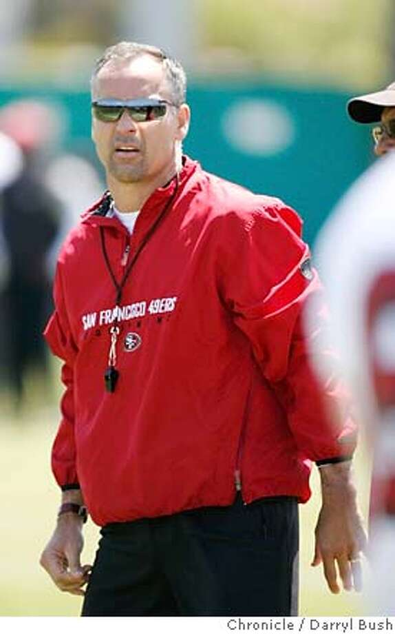 49ers_0017_db.JPG  49ers head coach Mike Nolan watches players at 49ers mini-camp at their headquarters practice field in Santa Clara, CA, on Saturday, May, 5, 2007. photo taken: 5/5/07  Darryl Bush / The Chronicle ** roster (cq) Ran on: 08-05-2007  Mike Nolan is trying to making the 49ers a contending team in three years after inheriting a hapless group. Photo: Darryl Bush