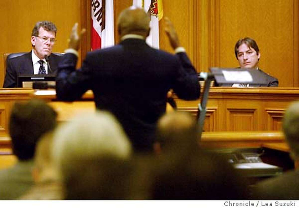 """47DC1733.JPG From left: Supervisor Tony Hall, Mayor Willie Brown and Supervisor Matt Gonzalez. Hall and Gonzalez listen while Mayor Brown appears before them regarding appointments made to the PUC while he was away. Mayor Willie Brown appears before the Board of Supervisors Rules Committee to demand they block an appointment to the SFPUC that was made behind his back by """"Mayor for a Day"""" Supervisor Chris Daly on 11/12/03 in San Francisco, CA. Photo by Lea Suzuki/ The San Francisco Chronicle."""
