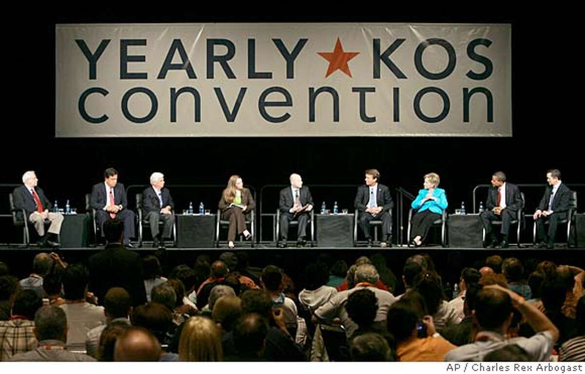 Seven of the eight leading Democratic Presidential candidates attend the Yearly Kos Convention's Presidential Leadership Forum in Chicago, Saturday, Aug. 4, 2007. In attendance are from left, former Sen. Mike Gravel, D-Alaska, New Mexico Gov. Bill Richardson, Sen Chris Dodd, D-Conn., blogger Joan McCarter, Matt Bai of New York Times Magazine, former Sen John Edwards, D-N.C., Sen Hillary Rodham Clinton, D-N.Y., Sen. Barack Obama, D-Ill., and Rep Dennis Kucinich, D-Ohio. (AP Photo/Charles Rex Arbogast)
