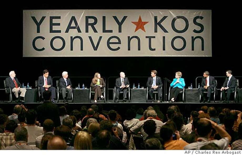 Seven of the eight leading Democratic Presidential candidates attend the Yearly Kos Convention's Presidential Leadership Forum in Chicago, Saturday, Aug. 4, 2007. In attendance are from left, former Sen. Mike Gravel, D-Alaska, New Mexico Gov. Bill Richardson, Sen Chris Dodd, D-Conn., blogger Joan McCarter, Matt Bai of New York Times Magazine, former Sen John Edwards, D-N.C., Sen Hillary Rodham Clinton, D-N.Y., Sen. Barack Obama, D-Ill., and Rep Dennis Kucinich, D-Ohio. (AP Photo/Charles Rex Arbogast) Photo: Charles Rex Arbogast