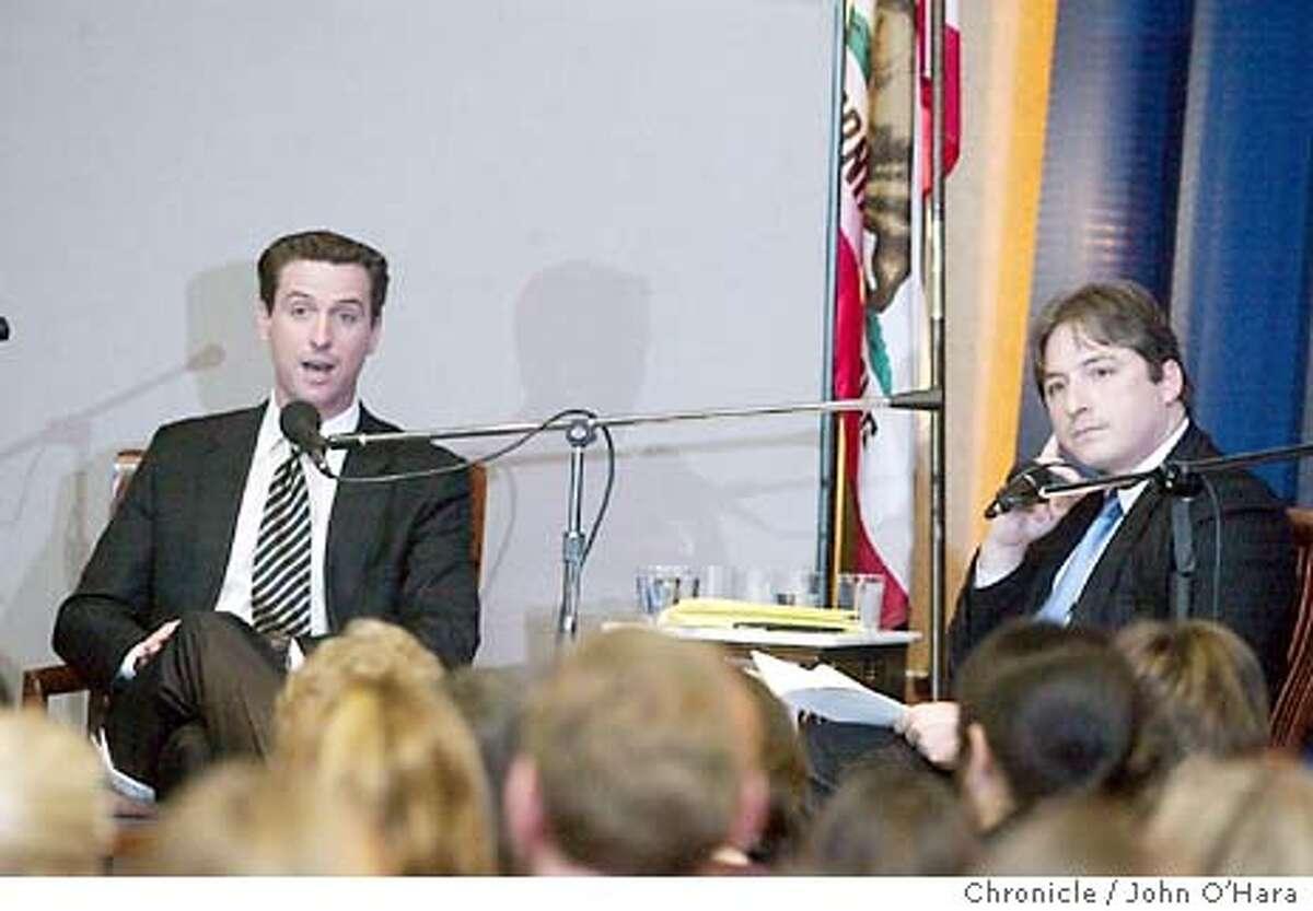 Commonwealth Club, 595 Market St. San Francisco,CA Mayorial Debate #1. Matt Gonzales (right) and Gavin Newsom (left) debated in three parts on PBS Radio. Michael Krasney was the moderator photo/John O'Hara