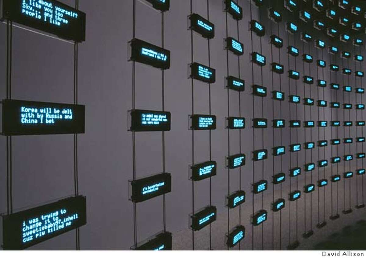 Mark Hansen and Ben Rubin, Listening Post, 2005-2006 Electronic components, copper wire, aluminum, eight speakers, and software Collection of the San Jose Museum of Art Photo by David Allison