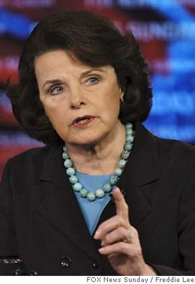 "In this photo provided by FOX News, Sen. Dianne Feinstein, D-Calif., appears on ""Fox News Sunday"" in Washington, Sunday, March 25, 2007. (AP Photo/FOX News Sunday, Freddie Lee) MANDATORY CREDIT: FREDDIE LEE, FOX NEWS SUNDAY  Ran on: 03-26-2007 Ran on: 03-26-2007  Sen. Dianne Feinstein, left, says Attorney General Alberto Gon- zales has lost her confidence.  Ran on: 03-26-2007 Ran on: 03-26-2007  Sen. Dianne Feinstein, left, says Attorney General Alberto Gon- zales has lost her confidence.  Ran on: 05-18-2007  Democratic senators Dianne Feinstein, left, and Chuck Schumer said they would offer a no-confidence resolution as early as next week.  Ran on: 08-02-2007  Sen. Dianne Feinstein said of the plan by Westlands Water District: &quo;The devil is in the details.&quo;  Ran on: 08-02-2007 MANDATORY CREDIT: FREDDIE LEE, FOX NEWS SUNDAY, NO SALES NO ARCHIVES Photo: FREDDIE LEE"