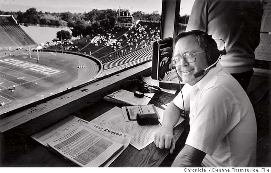 "STANFORD_MURPHY04.jpg November 4, 1990 - Bob Murphy, ""Voice of Stanford Sports,"" just finished his pre-game show, and is about to announce the Washington State vs. Stanford football game from his broadcast booth at Memorial Stadium at Stanford. Deanne Fitzmaurice San Francisco Chronicle File photo 1990 Photo: Deanne Fitzmaurice"