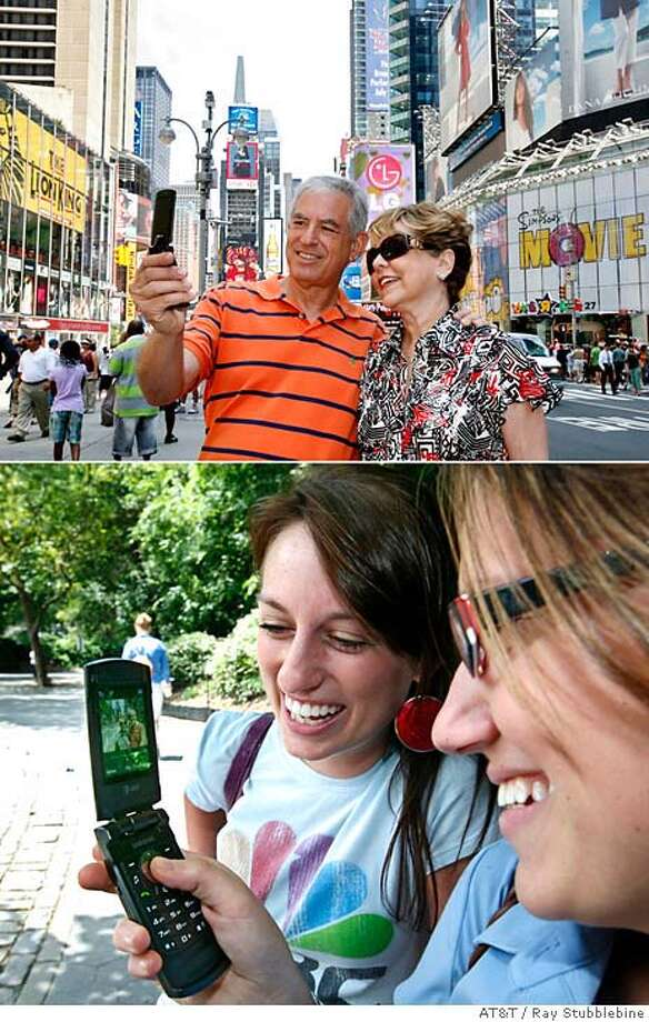 **FILE**In this combo photo provided by AT&T, Adam J. Schwadron, top left, and his wife AnnLee, top right, from Miami, Florida, try out the new AT&T Video Share phone service by sending live video of themselves as they tour Times Square, in New York, to New York friends Ashley Crooks, bottom left, and Jessica Klein, bottom right, in Central Park, in this July 20, 2007 file photo. (AP Photo/AT&T, Ray Stubblebine, file) COMBO PHOTO PROVIDED BY AT&T, NO SALES, JULY 20, 2007 FILE PHOTO Photo: RAY STUBBLEBINE