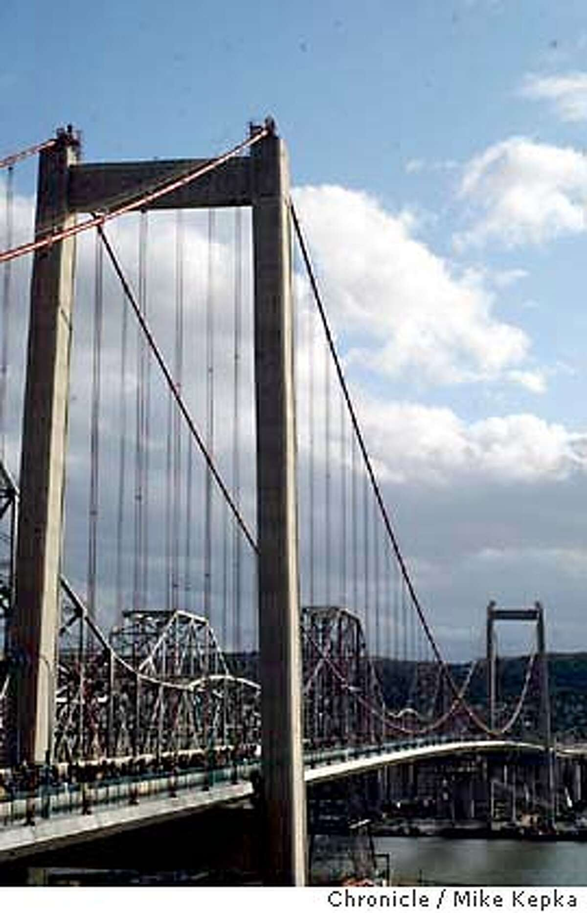 carquinez090004_mk.jpg The new Carquinez bridge opened to foot traffic for the first time Saturday. Thousands came to join the festivities and walk the span. 11/8/03 in Vallejo MIKE KEPKA/The San Francisco Chronicle