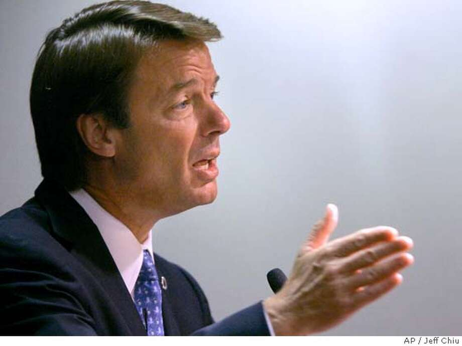 Democratic presidential hopeful and former Sen. John Edwards, D-N.C., speaks to members of the Silicon Valley Leadership Group on Wednesday, Aug. 1, 2007, in Santa Clara, Calif. (AP Photo/Jeff Chiu) Photo: Jeff Chiu