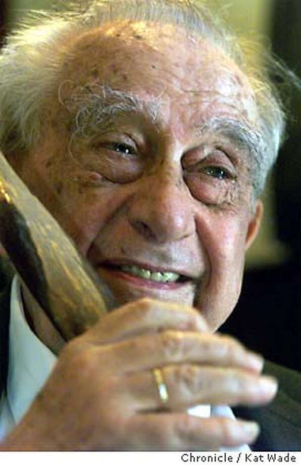 TELLER-05-C-14JUN99-MN-KW - Ninety-one-year-old, Edward Teller, the famous physicist and H-bomb pioneer speaks with the press after being honored by the University of California at Davis with an endowed chair in his name at the Wente Winery in Livermore. SAN FRANCISCO CHRONICLE PHOTO BY KAT WADE Photo: KAT WADE
