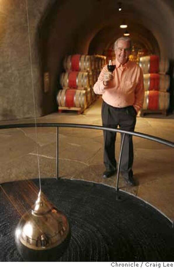 STAGS_174_cl.JPG  Warren Winiarski is the founder of Stag's Leap Wine Cellars in Napa. The winery has just been sold to Marchese Pieiro Antinori and Ste. Michelle Wine Estates, a conglomerate. Photo of Warren Winiarski in the pedulum room in the estate wine caves. The pendulum is a metaphor for the passage of time and the aging of wine.  Event on 7/31/07 in Napa. photo by Craig Lee / The Chronicle MANDATORY CREDIT FOR PHOTOG AND SF CHRONICLE/NO SALES-MAGS OUT Photo: Photo By Craig Lee
