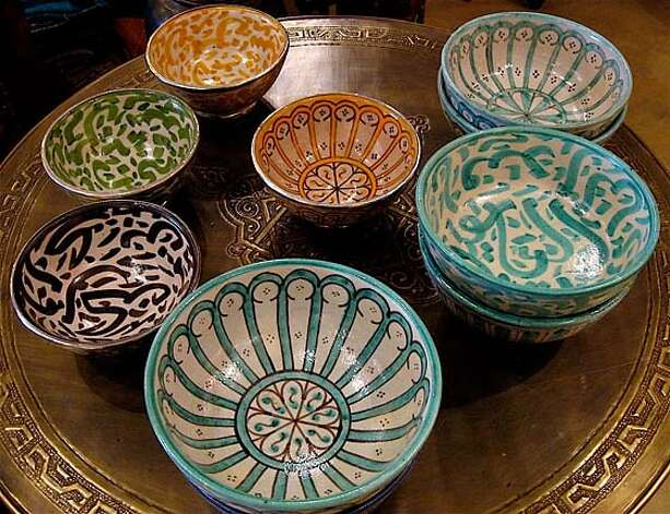 Ceramic bowls from Morocco. Tazi Designs Photo: Hicham Tazi