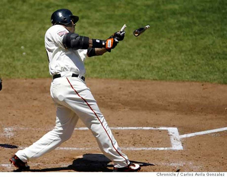 GIANTS30_002_CAG.JPG  Barry Bonds breaks his bat on his second at bat in the game. The San Francisco Giants played the Florida Marlins at AT&T Park in San Francisco, Ca., on Sunday, July 29, 2007. Photo by Carlos Avila Gonzalez/The Chronicle  Photo taken on 7/29/07, in San Francisco, Ca, USA.  **All names cq (source)  Ran on: 07-31-2007  Barry Bonds might sit out tonight's game in L.A., where fans aren't too thrilled with him.  Ran on: 07-31-2007  Barry Bonds might sit out tonight's game in L.A., where fans aren't too thrilled with him. Photo: Carlos Avila Gonzalez