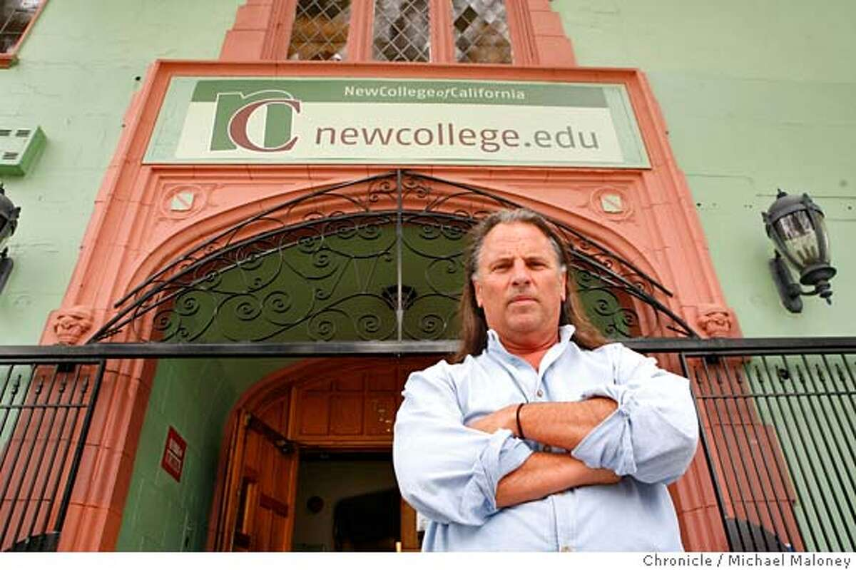 The New College of California's president Martin Hamilton stands in front of the main entryway to the college. The New College of California, San Francisco�s liberal arts college that promotes itself as committed to education in support of a just, sacred, and sustainable world has been placed on probation for grave academic violations. Without serious change, the college will lose its accreditation this fall. Photo taken on 7/25/07 in San Francisco, CA Photo by Michael Maloney / San Francisco Chronicle ***Martin Hamilton MANDATORY CREDIT FOR PHOTOG AND SF CHRONICLE/NO SALES-MAGS OUT