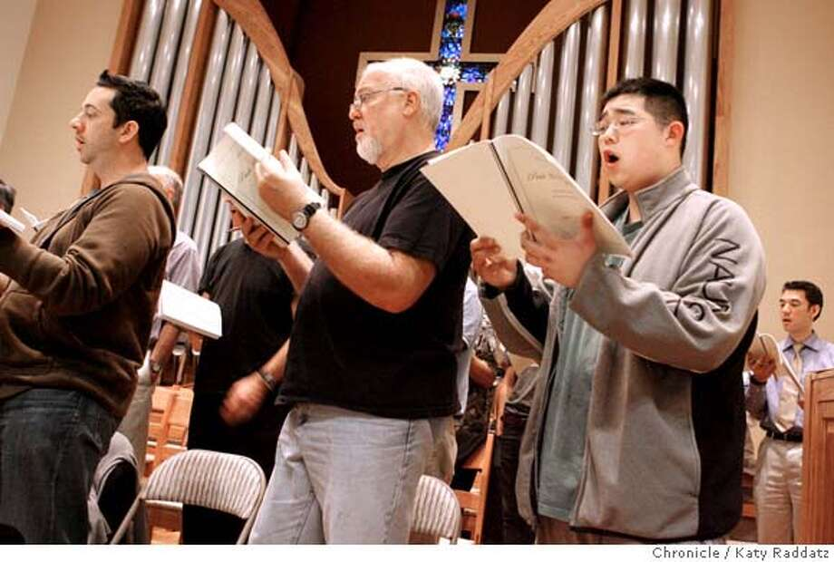 CHORALSOCIETY28_013_RAD.jpg  SHOWN: Far RIGHT: Vincent Fung, high school student, rehearsing. High school students participate with the 200 plus members of the Choral Society. They'll perform at Davies; here they rehearse at Lakeside Presbyterian Church in SF. Tuesday, July 17, 2007.  (Katy Raddatz/The Chronicle)  **Vincent Fung Mandatory credit for the photographer and the San Francisco Chronicle. No sales; mags out. Photo: Katy Raddatz