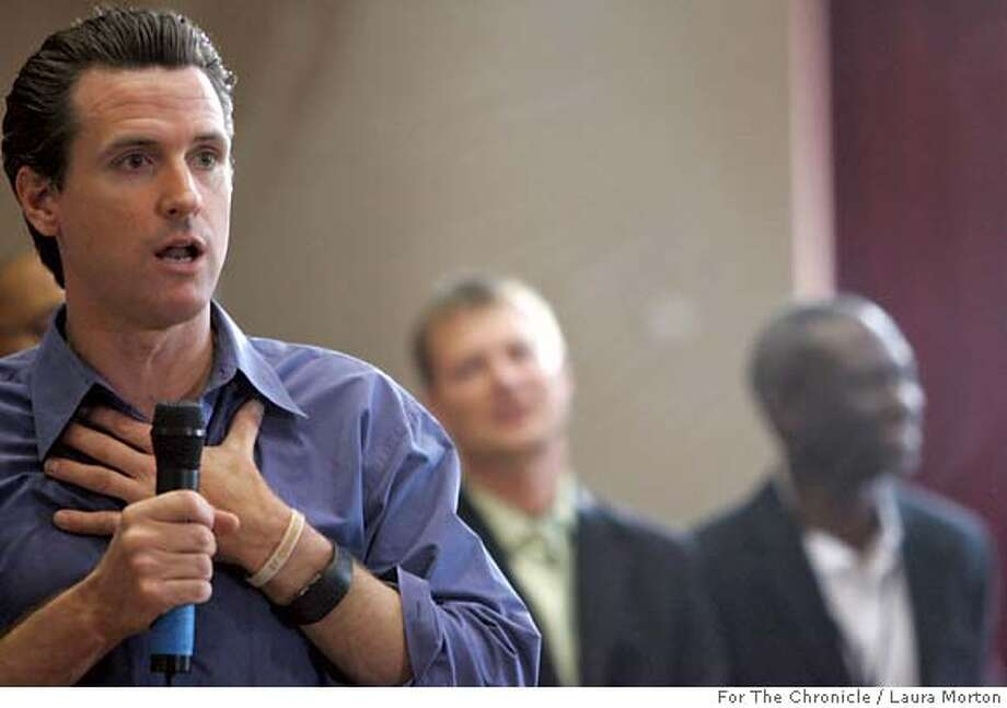 Newsom29_0141_LKM.jpg San Francisco Mayor Gavin Newsom speaks to a crowd of city residents during a town hall style meeting Saturday morning at Jefferson Elementary School in the Sunset District. The meeting addressed questions and concerns about issues associated with city parks and recreation. (Laura Morton/Special to the Chronicle) *** Gavin Newsom 43900 Photo: Laura Morton